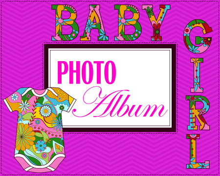photo album cover: Vector baby photo album cover for girls