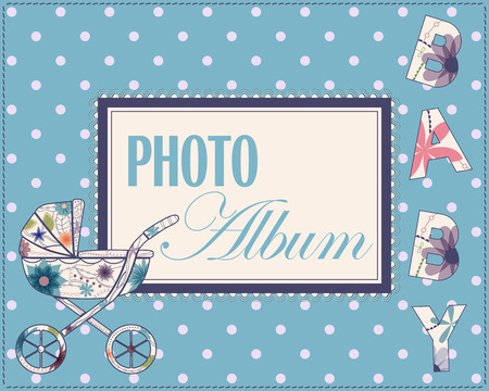 vintage photo frame: Vector baby photo album cover for boys