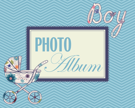 photo album cover: Vector baby photo album cover for boys