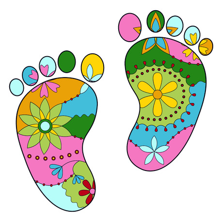 그린: vector colorful baby feet painted silhouettes