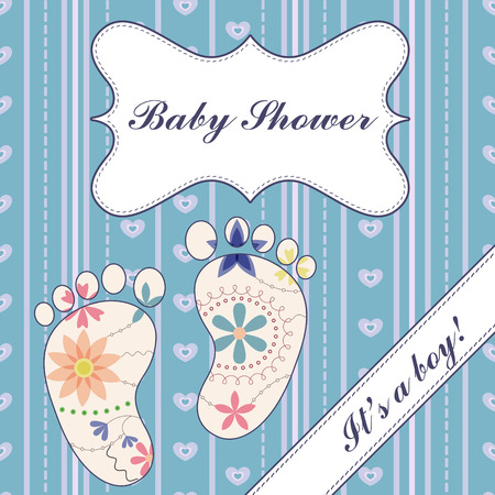 its:   background with banner ant feet baby shower boy vintage