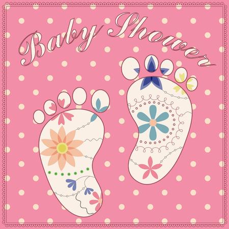 party girl: background baby shower girl vintage Illustration