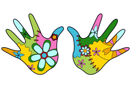 handbreadth: vector colorful baby hand painted silhouettes Illustration