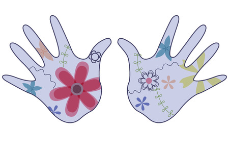handbreadth: vector colorful baby hand painted silhouettes vintage