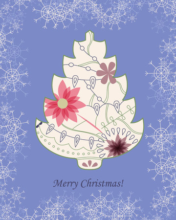 painted the cover illustration: Vector background with christmas tree and snowflakes vintage