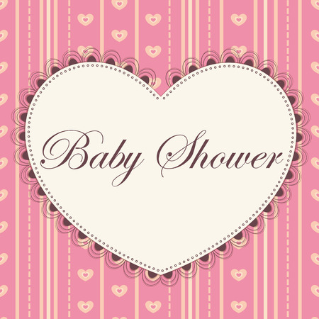 pink vintage: Vector card baby shower with heart pink vintage