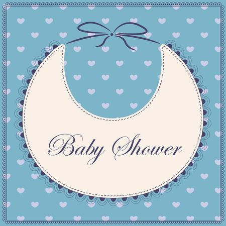 bib: Vector card baby shower with bib blue