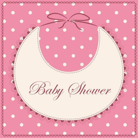 babero: Vector de la tarjeta de bienvenida al bebé con la vendimia de color rosa babero