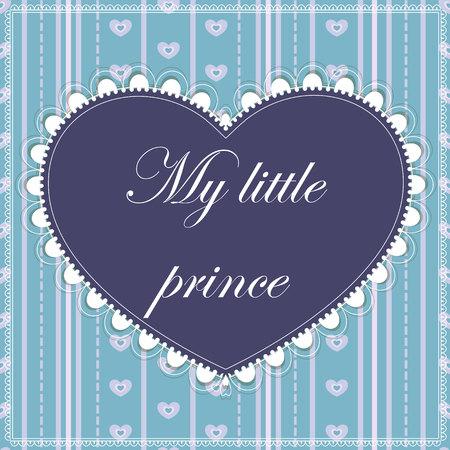 corazones azules: Vector mi pequeña tarjeta príncipe