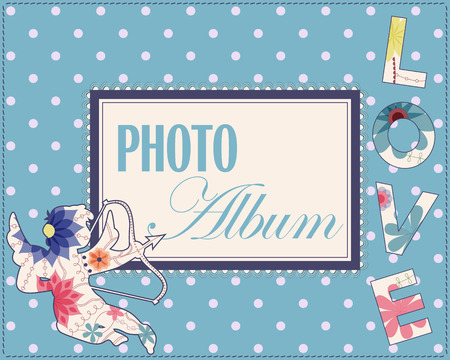 album cover: Vector family weddng album cover vintage Illustration