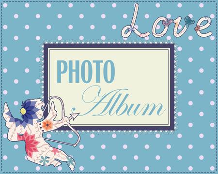 desig: Vector family weddng album cover vintage Illustration