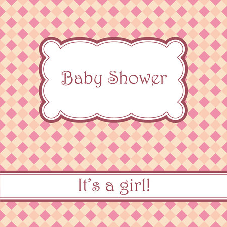 chequered ribbon: Vector vintage pink background with plaid baby shower