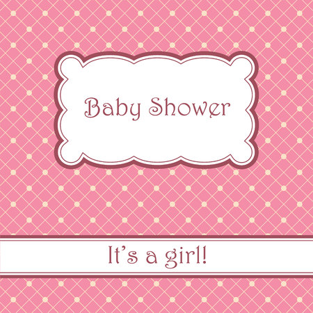 daughter cells: Vector vintage pink background with cell pattern baby shower