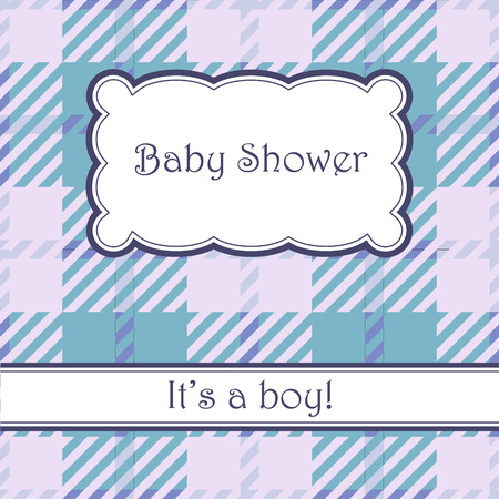 its: Vector vintage blue background with plaid baby shower