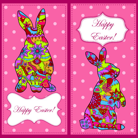 painted the cover illustration: Vector backgrounds with easter rabbit Illustration