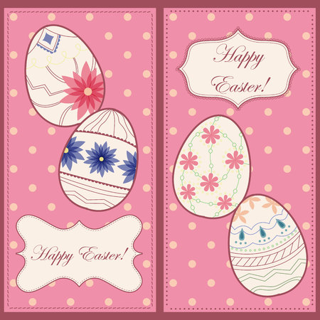 painted the cover illustration: Vector vintage backgrounds with easter eggs