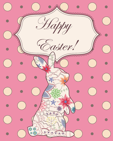 painted the cover illustration: Vector vintage background with easter rabbit