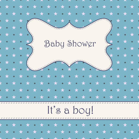it's: Vector vintage blue background with stars baby shower