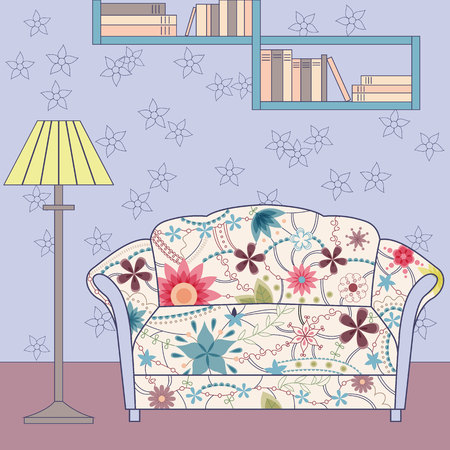 tender: Vector cartoon funny vintage interior with painted couch