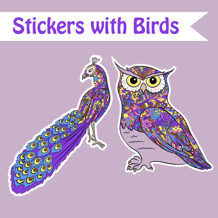 wall paper: Vector set of bird wall, paper, window stickers Illustration
