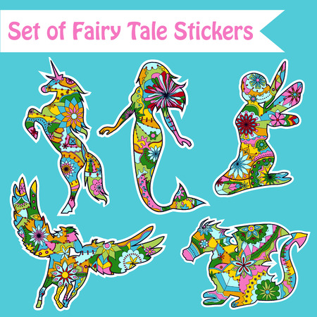 ale: Vector set of fairy ale wall, paper, window stickers