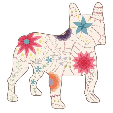 french bulldog: Vector french bulldog painted silhouette vintage Illustration