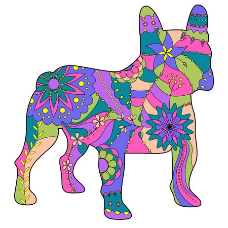 Vector french bulldog painted silhouette