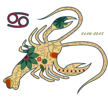 cancer zodiac: vector illustration of Cancer zodiac sign retro Illustration