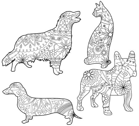 draw animal: Vector coloring set pets