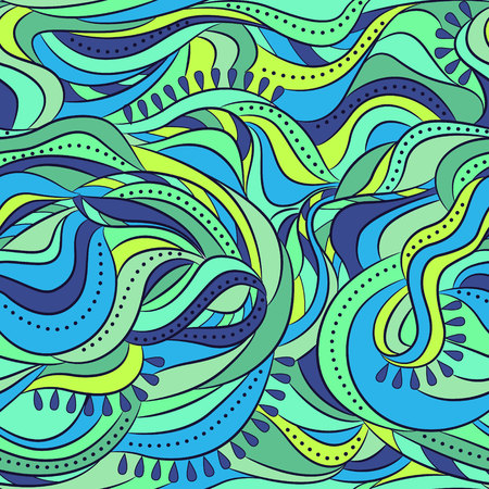grren: Vector abstract seamless pattern with waves Illustration