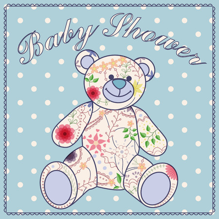 baby bear: Vector baby shower with bear toy