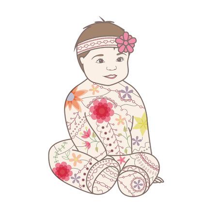 baby girl: Vector baby girl vintage