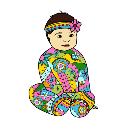 baby girl: Vector baby girl colorful