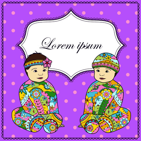 twin sister: Vector background with baby girl and boy twins