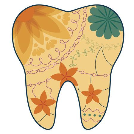 stomatologist: tooth silhouette retro Illustration