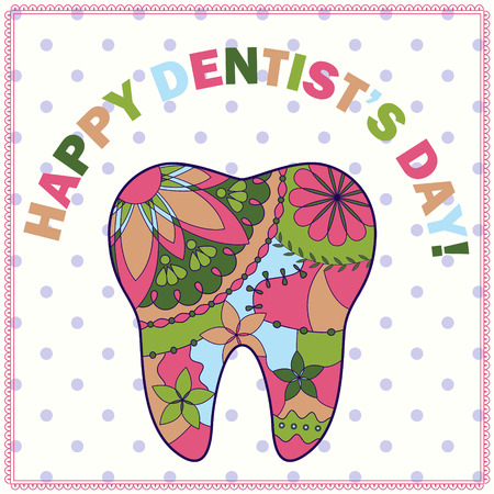 stomatologist: happy dentist day card with tooth silhouette