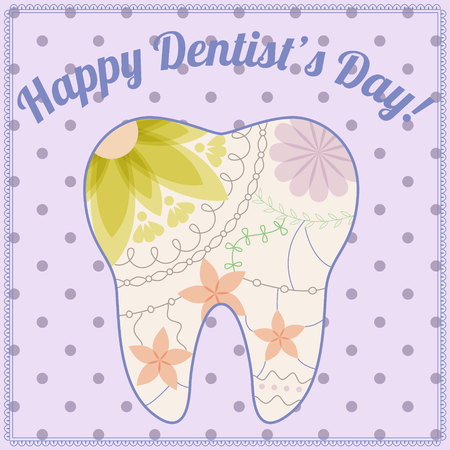 stomatologist: happy dentist day card with tooth silhouette vintage