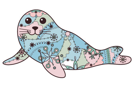 pup: Vector seal pup colorful Illustration