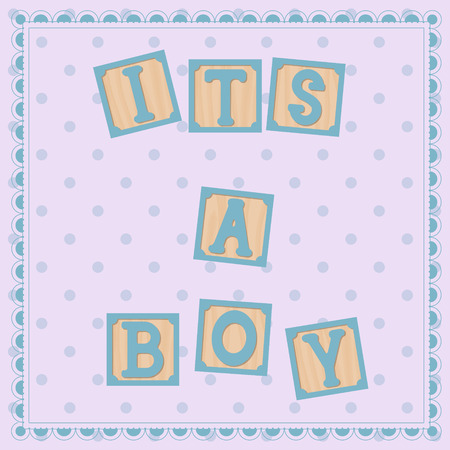its: Vector its a boy card with cubs