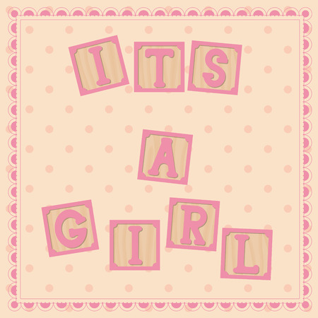 cubs: Vector its a girl card with cubs