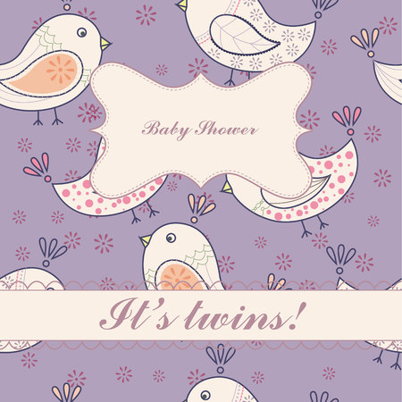 twins: Vector birds baby shower twins vintage Illustration