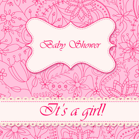 baby girl: Vector baby shower with flowers girl Illustration