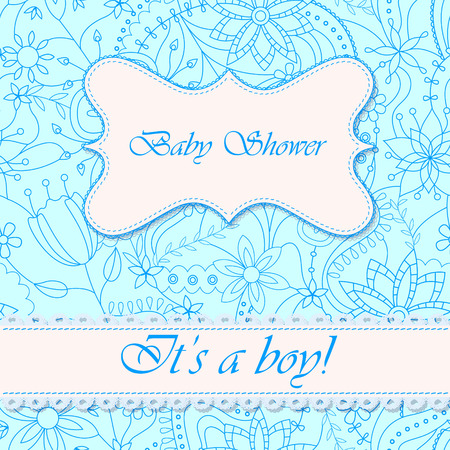 flowers boy: Vector baby shower with flowers boy