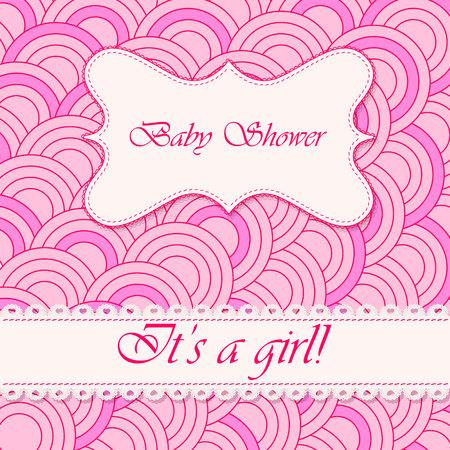 baby girl: Vector baby shower circle background girl Illustration