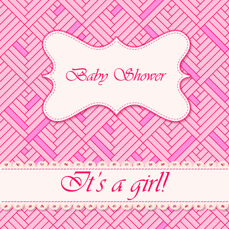it's: Vector baby shower abstract background girl