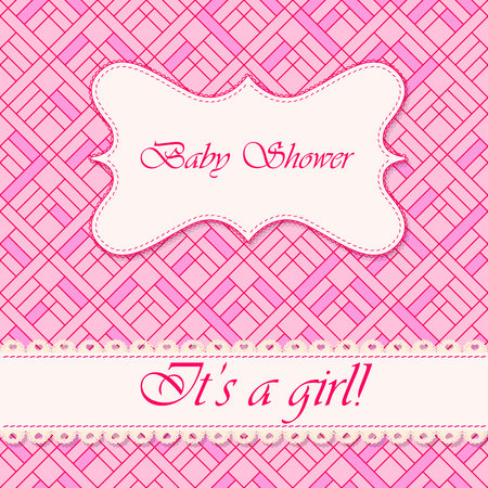 baby girl: Vector baby shower abstract background girl