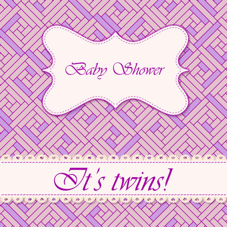 twin sister: Vector baby shower abstract background twins