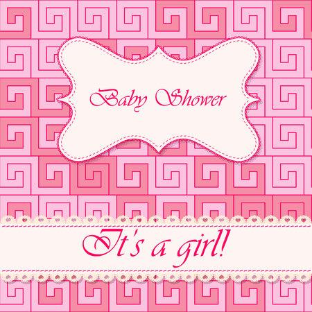 baby girl: Vector baby shower greek background girl