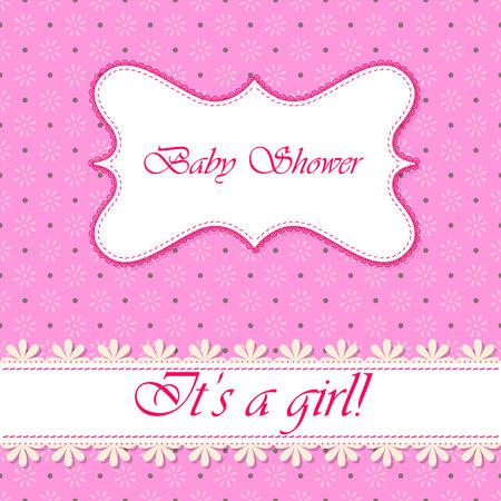 baby girl: Vector polka dot flowers baby shower girl