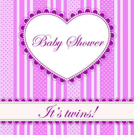 twins: Vector baby shower with heart banner twins Illustration